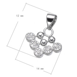 DIY Handbag Charm CZ Micro Pave Copper Pendant Arrow Platinum Plated Nickel Lead & Cadmium Free 12x14mm Hole:About 3.7mm 15 PCS Lot