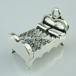 Wholesale 14650 Alloy Antique Silver Vintage Nice Bed Sweet Dreams Words Pendant