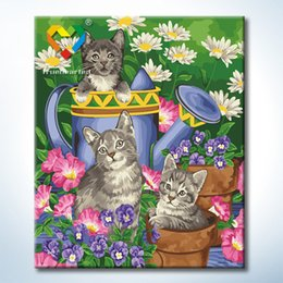 Wholesale Cat Playing Flower Wall Art DIY Painting Baby Toys x60cm Artistical Canvas Oil Painting Drawing Wall Art for Colleague Gift with SGS