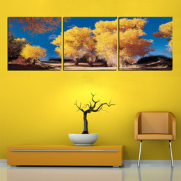 Unframed 3 Piece Free Shipping rose picture Canvas Prints Cartoon town house tree peacock flower peony chinese characters Bamboo Lavender