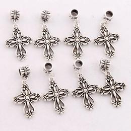Wholesale Antique Silver Filigree Heart Cross Religious Charm Beads Fit European Bracelets Jewelry DIY B425 x38 mm