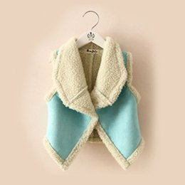 Wholesale Cardigans For Boys 3t - Wholesale-New autumn winter fur girl vest fashion children's clothing for girls wool warmer cardigan Free Shipping