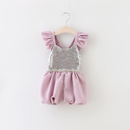 Sale Girls sequins Jumpsuits Kids lace falbala fly sleeve suspender shorts Baby Girls purple beaded belt princess one-piece A8896