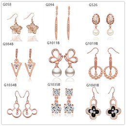 Mixed style women's 18k rose gold earring crystal gemstone,new arrival 10 pairs a lot Beaded animal hollow rose gold Dangle earrings EMG10