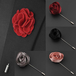 Ribbon Lapel Flower Rose Hot Sale Handmade Boutonniere Brooch Pin Men's Accessories Brooches Pins Jewelry Wholesale 0402WH