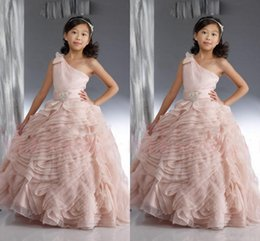 Light Pink One Shoulder Flower Girl Dresses 2016 Organza Ruched Ball Gown Girls Pageant Gowns Floor Length Kids Party Dresses