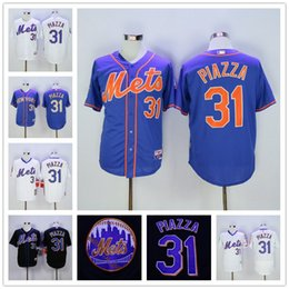 Wholesale New York Mets Mike Piazza White Black Blue Hall Of Fame Induction with Sleeve Patch Cool Base NY Baseball Jerseys Outlets
