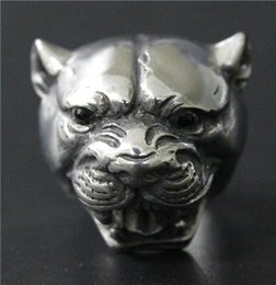 Size 7-14 Ladies Womens 316L Stainless Steel Jewelry Very Huge Big Leopard Ring With Black Stones eyes Special Band New Biker Ring