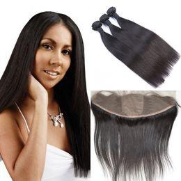 13x4 Ear To Ear Silk Base Lace Frontal Closure With 3pcs Hair Bundles Indian Straight Hair Natural Black LaurieJ Hair