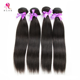 4 Bundles Full Head Remy Human Straight Hair Weave Black Peruvian Remy Human Hair Weave Weft HLSK Queen Hair Wefts