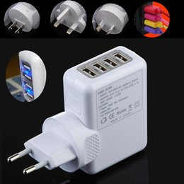 Wholesale 4 USB Port AC Travel Charger W V MAX A US EU AU UK Plug Wall Adapter for iPhone Ipad Samsung HTC Android Amartphone tablet pad