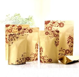 Wholesale Beautiful Flower Printed Food Moisture proof Bags Kraft Paper with Aluminum Foil Lining Stand UP Pouch Ziplock Packaging Bag