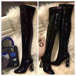 Longue en cuir femmes boot à vendre-2016 sexy mode de charnière sur les bottes de genou Automne plus tard transparent gros talons longs bottes femme bottes à talons hauts