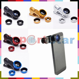 Wholesale 3 in Universal Clip Fish Eye Wide Angle Macro Phone Fisheye glass camera Lens For iPhone Samsung Cheap Price Best quality