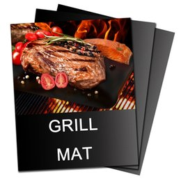 Wholesale BBQ Grill Mat Non stick Pad Sheet Reusable Barbecue Grilling Accessories Tool Works on Gas Charcoal Ovens Electric Grills Cut to Size