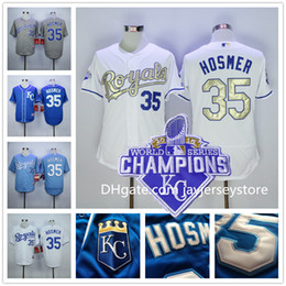 Wholesale Kansas City Royals Eric Hosmer Jersey with World Series Champions Patch Flexbase KC Baby Blue Grey White Stitched
