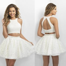 Wholesale Sleeveless Mini Ball Gown - 2016 Two Pieces Homecoming Dresses Little White Short Prom Dresses with Pearls Backless Mini Lace Shirt Hlater Neck Cocktail Dresses