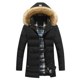 Men Winter Parkas Hooded Down Coat Long Jacket Fur Collar Cotton Padded Outwear Waterproof Winbreak Thicken Warm Black Army Green Black XXXL