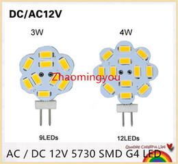 10pcs AC   DC 12V 5730 SMD G4 LED Crystal lamp 3W 4W Chandelier Flower bulb,9LEDs,12LEDs, light & lighting