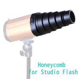 Aluminium conique Snoot nid d'abeilles pour studio Strobe Flash Lights Monolight Photographie ect petit + 4 couleurs gel filtre à partir de snoot nid d'abeille fabricateur