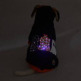 Wholesale Led Dog Clothes Christmas Halloween Party Cool Dog Coat Light Winter Warm Thick Fleece Hooded Sweater Holiday Gift Puppy Light Clothes D