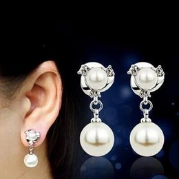 Wholesale Clip Earrings Wholesale Fashion - Gold rose gold pin earrings fashion female Korean temperament long section of the pearl ear clip without pierced earrings