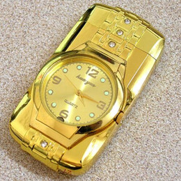 Wholesale New Military Gold Color Lighter Watch Novelty Man Quartz Wristwatch Refillable Butane Gas Cigarette Cigar custom made best price