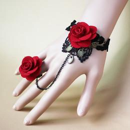 2016 Hot Sale Original vintage Imperial Black Lace Red Rose Bracelet with a ring Fashion Women Accessories Women Charm Bracelets