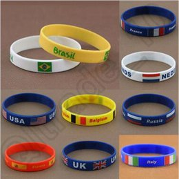 Wholesale 1000pcs CCA4401 High Quality Vogue Silicone Bracelet Wristband Country Flag Band for Brazil Rio Olympic Games Charm Bracelets Waistband