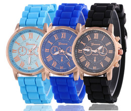 New hot geneva silicone watch unisex mens womens roma dial rubber quartz watches jelly candy wrist watches for women mens