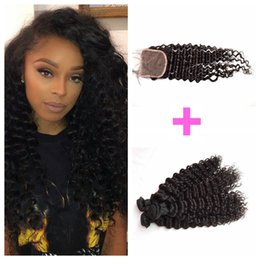 3 Bundles Peruvian Deep Wave With Lace Closure Natural Black Free Middle Three Part 100% Human Hair Deep Curly Top Closure LaurieJ Hair