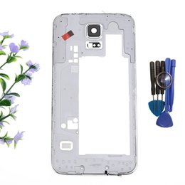 Wholesale High Quality Middle Frame Plate Bezel Housing Case For Samsung Galaxy S5 SV G900F G900H set free tools