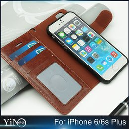 Wholesale 2 in Retro Magnetic Magnet Detachable Removable Wallet Leather Case Separation For iPhone s Plus Cover With Card Slots