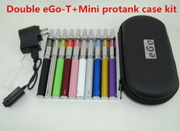 Double Electronic Cigarettes eGo T vape pens Starter Kit Mini Protank Vaporizer 650mAh 900mAH 1100mAh Ego-T Batteries VS TVR box mods kits
