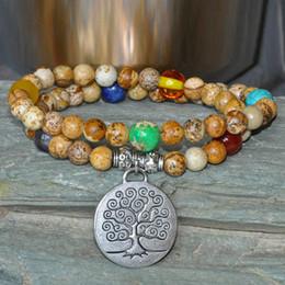 Tree of Life Pachira Mala beads, mala wrap bracelet,Picture Jasper mala, meditation,mantra prayer ,buddhist mala,gemstone mala,chakra mala