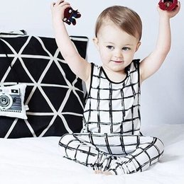 Wholesale NWT New INS hot Baby Girls Boys Outfits Set Summer Sets Boy Cotton Tops Shirts Vest Harem Pants piece sets Cool pajamas plaid sets