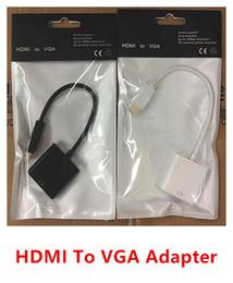 Promotion convertisseurs vidéo Haute qualité 1080P HDMI mâle vers VGA femelle vidéo convertisseur adaptateur câble blanc connecteur noir Livraison gratuite
