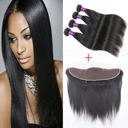 Wholesale 5 HOT Peruvian Straight Human Hair Bundle With lace Closure frontal Closure Cheap Best a Grade Human Hair Weft
