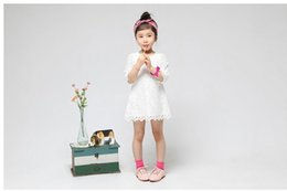 Wholesale Kids White Casual Wedding Dress - Baby Girls Lovely Lace A-line Dresses Girls Kids Summer Spring Autumn Dress Casual Colthing Princess Dress For Party Wedding Festival ZA0038