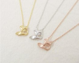 Fashion 18k Gold Pink-gold Fox Tale Necklace Pendant Necklace for women gift Free Shipping Wholesale