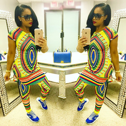 2017 African fashion design suits 2pc sets women traditional print Dashiki clothing National characteristic two piece pants African clothes