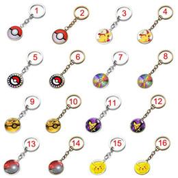 16 Colors Poke Halder Keychain Pikachu Ring Time Gemstone Pendant Cartoon Anime Character Key Rings Accessories F629-1