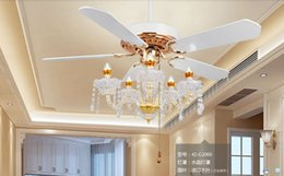 Luxury crystal fan light ceiling fans candle ceiling fan lights modern minimalist living room dining room bedroom fans 52inch