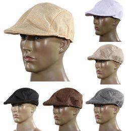 Women Men Retro Cap Peaked Beret Fashion Linen Cotton French Newsboy Visor Golf Driving Flat Cabbie Artist Hat GIFT