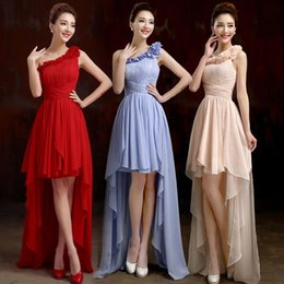 Pretty A Line Bridesmaid Dresses One Shoulder Sleeveless Wedding Party Dresses High Low Prom Dresses With Pleats