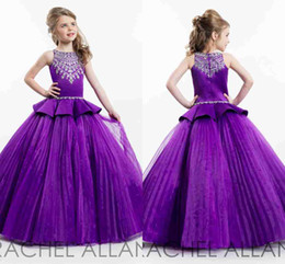 New Purple Girls Pageant Dresses Cute Crew Neck Tulle Rhinestone Crystal Beads Glitz Ball Flower Girls Gowns Custom Made BA4477