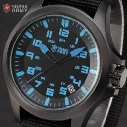 Wholesale AVENGER Mineral Glass Shark Army Blue Dial Auto Date Black Nylon Strap ATM Waterproof Montre Homme Men Military Watch SAW084