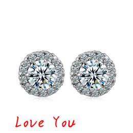 Korean Brand Stud Earrings Platinum Plated AAA Cubic Zirconia Earrings for Women  Girl's Fashion Jewelry High Quality