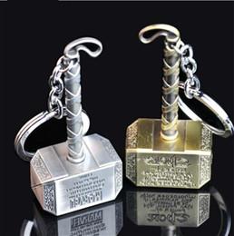 Hot Marvel Comics The Avengers Loki Thor Hammer Keychain Mjolnir Model Zinc Alloy Keyring Toy Thor Key Chain Ring Men Jewelry KC-03