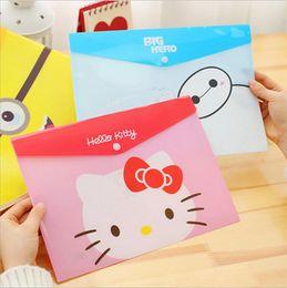 Wholesale Cute Cartoon Animal Totoro Big Hero Snap PVC Transparent Waterproof Portable A4 File Folder Document Filing Bag Stationery Bag